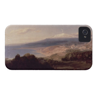Taormina and Mount Etna, c.1840 (oil on canvas) iPhone 4 Case-Mate Cases