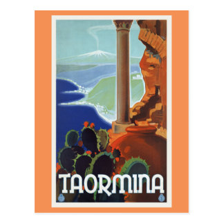 Taormina Italy Vintage Travel Europe Postcard