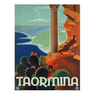 Taormina Sicily Italy VintageTravel Poster Post Card