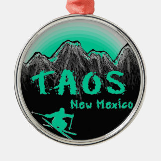 Taos New Mexico artistic skier Silver-Colored Round Decoration