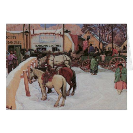 Taos Plaza in Winter Card