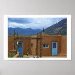 Taos Pueblo 2 blue doors Poster