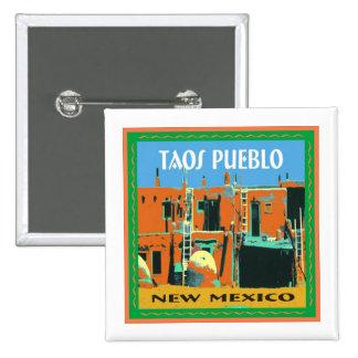Taos Pueblo New Mexico 15 Cm Square Badge