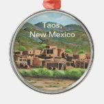 Taos Pueblo, New Mexico Round Metal Christmas Ornament