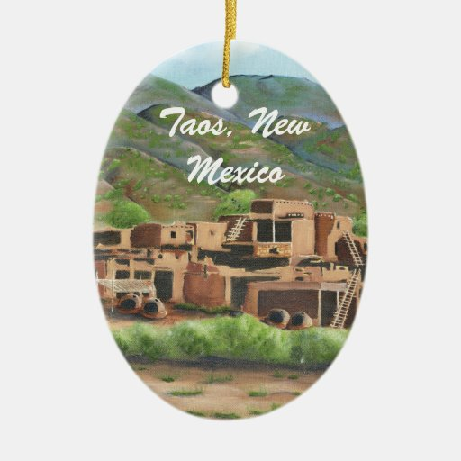 Taos Pueblo, New Mexico Double-Sided Oval Ceramic Christmas Ornament