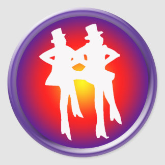 Tap dancers on a multi-colored background classic round sticker