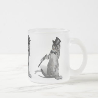 Tap Dancing Cat Frosted Glass Mug