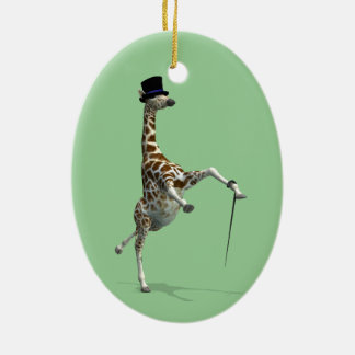 Tap Dancing Giraffe Ceramic Oval Decoration