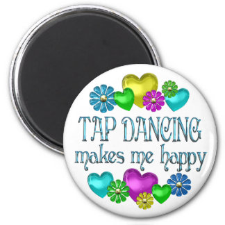 Tap Dancing Happiness 6 Cm Round Magnet