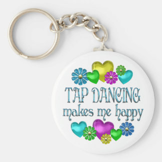 Tap Dancing Happiness Basic Round Button Key Ring