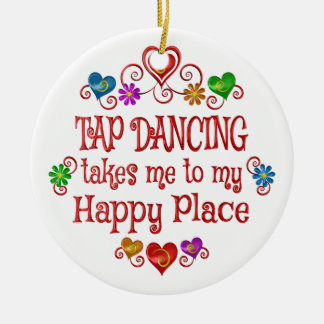 Tap Dancing Happy Place Round Ceramic Decoration