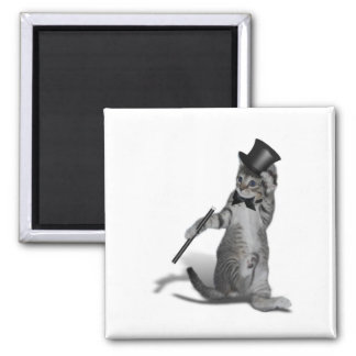 Tap Dancing Kitten Square Magnet