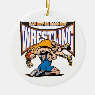 Tap Out Wrestlers Round Ceramic Decoration
