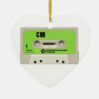 Tape cassette ceramic heart decoration