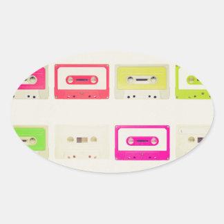 Tape cassette oval sticker