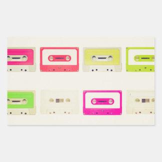 Tape cassette rectangular sticker