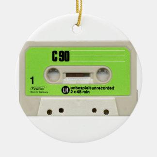 Tape cassette round ceramic decoration