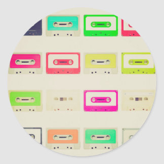 Tape cassette round sticker
