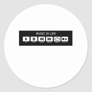 Tape Deck - Music is Life Round Sticker