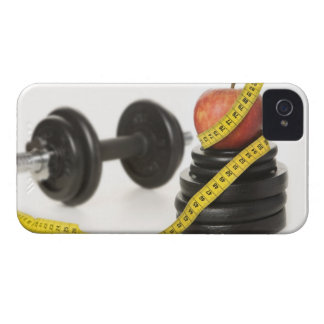 Tape measure, apple, dumbbell and weights iPhone 4 Case-Mate case