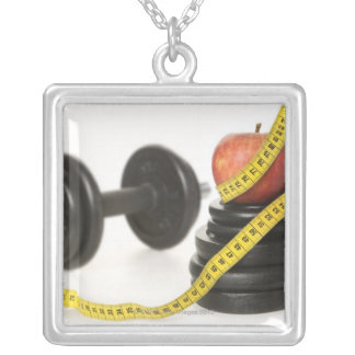 Tape measure, apple, dumbbell and weights square pendant necklace