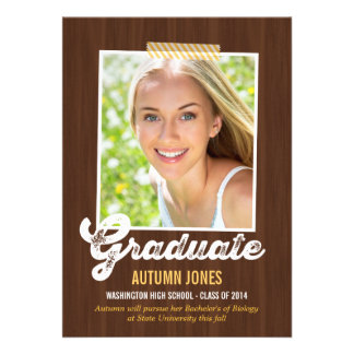 Taped Polaroid Graduation Invitation - Wood Personalized Announcement