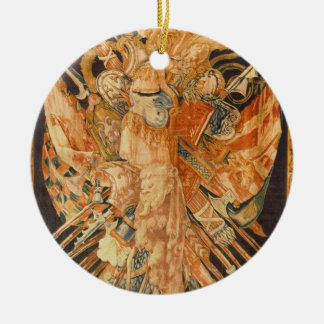 Tapestry depicting war trophies (textile) round ceramic decoration