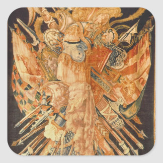 Tapestry depicting war trophies (textile) square sticker