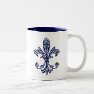 Tapestry Fleur de lis 1 Two-Tone Mug