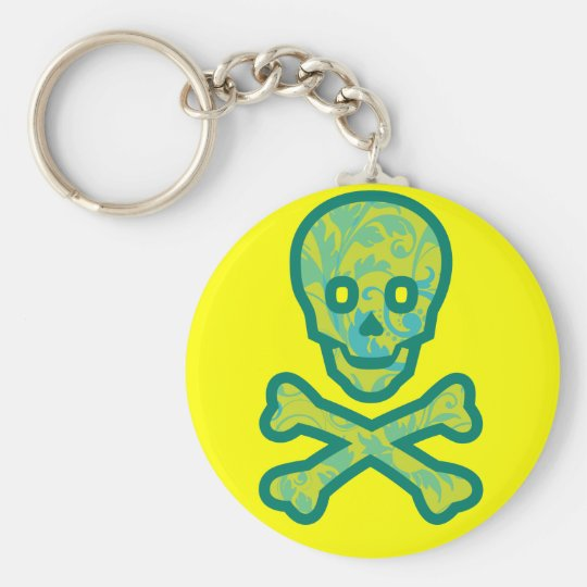 Tapestry Head Green Basic Round Button Key Ring