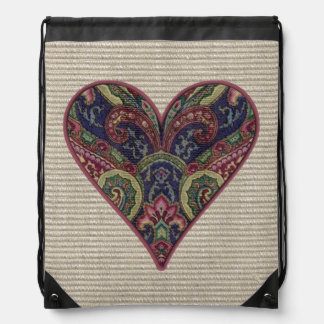 Tapestry Heart Collage Drawstring Bag