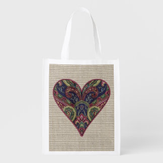 Tapestry Heart Collage Grocery Bags