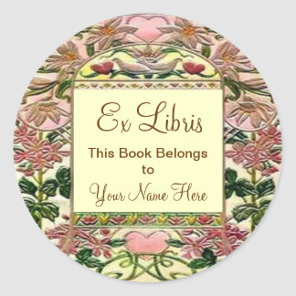 Tapestry Hearts Ex Libris Bookplate Classic Round Sticker
