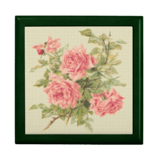 Tapestry Style Pink Roses Gift Box