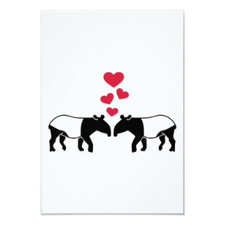 Tapir red hearts love 9 cm x 13 cm invitation card