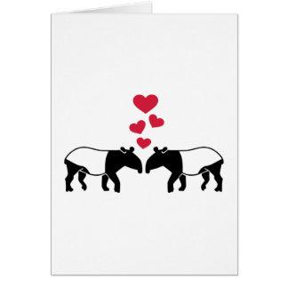 Tapir red hearts love card