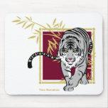 """Tapis de souris """"Tigre blanc et bambou"""" Mouse Pad"""