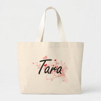 Tara Artistic Name Design with Hearts Large Tote Bag