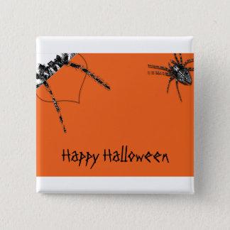 Tarantula Spider crawling on Halloween Orange 15 Cm Square Badge