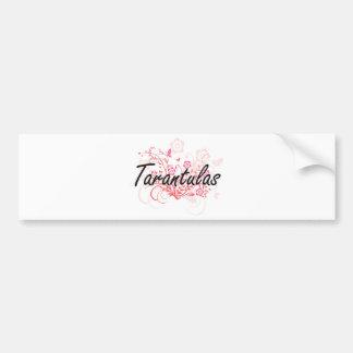 Tarantulas with flowers background bumper sticker