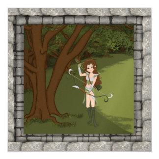 Taren the Archer Warrior Elf Girl Invitaion 13 Cm X 13 Cm Square Invitation Card