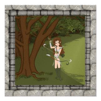 Taren the Archer Warrior Elf Girl Invitaion Custom Invitation