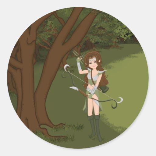 Taren the Archer Warrior Elf Girl Round Sticker