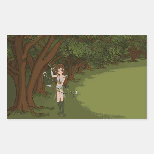 Taren the Archer Warrior Elf Girl Rectangular Stickers