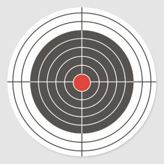 Target shooting for gun, rifle or firearm shooter classic round sticker