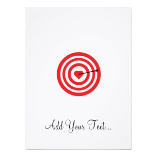 Target with Heart 17 Cm X 22 Cm Invitation Card
