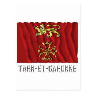 Tarn-et-Garonne waving flag with name Postcard