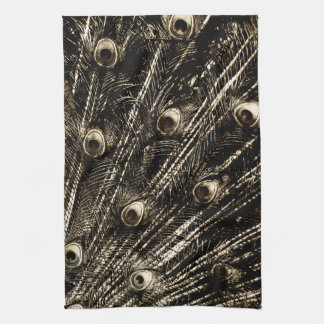 Tarnished Dark Silver Metal Foil Peacock Feathers Tea Towel