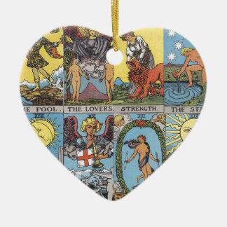 Tarot Card Collage Ceramic Heart Decoration