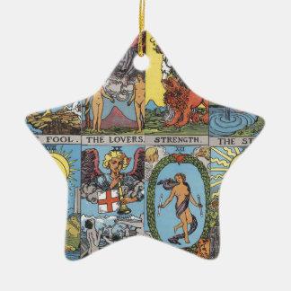 Tarot Card Collage Ceramic Star Decoration